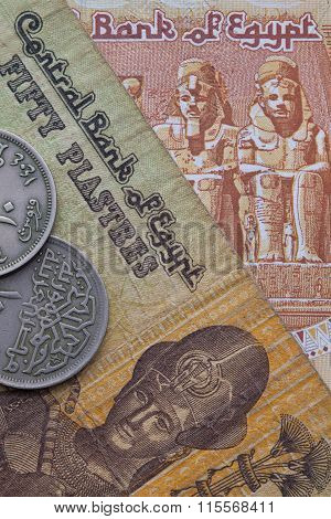 Different Banknotes And Coins Of Egyptian Money