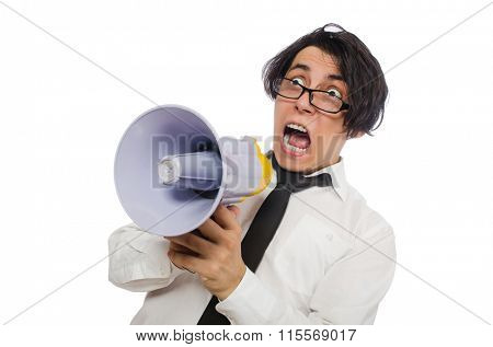 Angry man with loudspeaker isolated on white