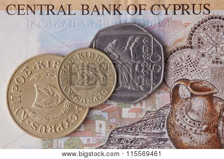 Banknote And Coins Of  Pound  Of Cyprus