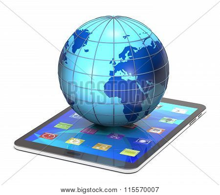 Tablet Pc And Globe.