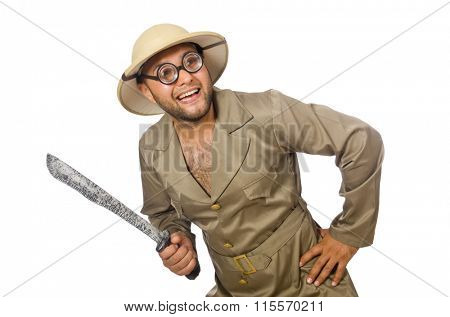 Man with knife isolated on white