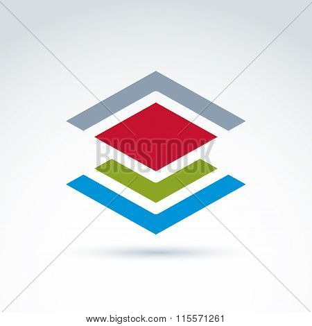 Abstract Geometric Figure With Lines And Diamond, Red Rhombus. Vector Colorful Complex Symbol