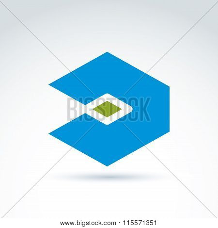 Abstract Geometric Figure, Green Rhomb. Vector Colorful Complex Stencil Symbol, Corporate Icon