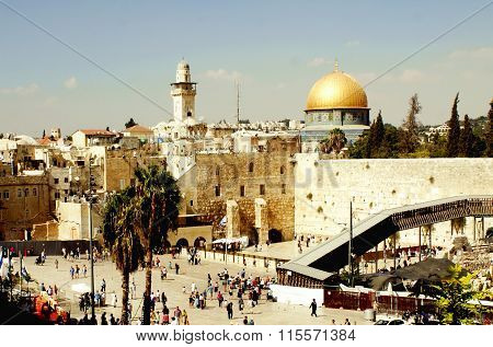 JERUSALEM, JSRAEL - 20 AUGUST 2014: Mosque of Caliph Omar Dome of the Rock in Jerusalem
