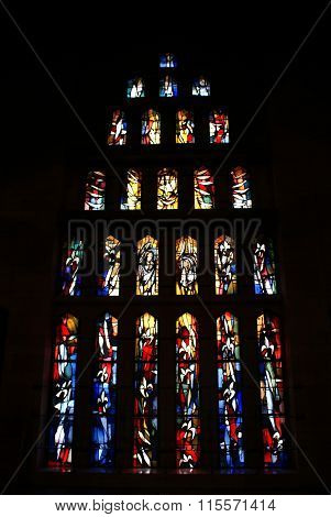 PRAGUE, CZECH REPUBLIC. 23 AUGUST 2013: Stained glass window in St. Vitus Cathedral