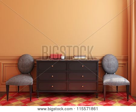 Interior With Dresser. 3D Rendering.