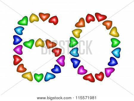 Number 60 Made Of Multicolored Hearts