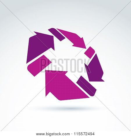 3D Loop Sign, Circulation And Rotation Icon Isolated On White Background. Abstract Design Element