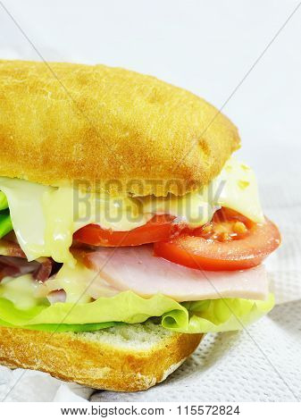 Ham And Cheese Sandwich With Tomatoes, Mayo And Lettuce