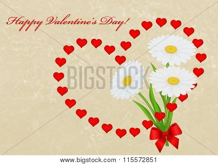 Happy Valentine's Day Card Background With Hearts And Daisies