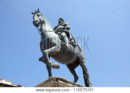 FLORENCE, ITALY - JUNE 05: Statue of Ferdinando I de' Medici at he Piazza della Santissima Annunziata in Florence, Italy, on June 05, 2015