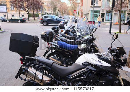 Roma, Italy, January, 17, 2016: Motorcycles on a parking in Roma, Italy