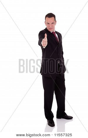 Businessman Giving Consent, With Thumb Up, Isolated On White Background. Studio Shot.