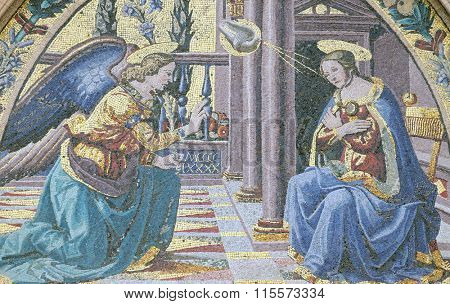 FLORENCE, ITALY - JUNE 05: Mosaic at the lunette depicting Annunciation by Ghirlandaio brothers, Mandorla Gate, Portal of Cattedrale di Santa Maria del Fiore, Florence, Italy on June 05, 2015