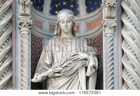 FLORENCE, ITALY - JUNE 05: Saint Reparata, Portal of Cattedrale di Santa Maria del Fiore (Cathedral of Saint Mary of the Flower), Florence, Italy on June 05, 2015
