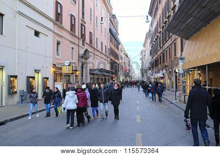 Vatican, Roma, Italy, January, 17, 2016: Crowd of people on a pedestrian street in Vatican, Roma, Italy