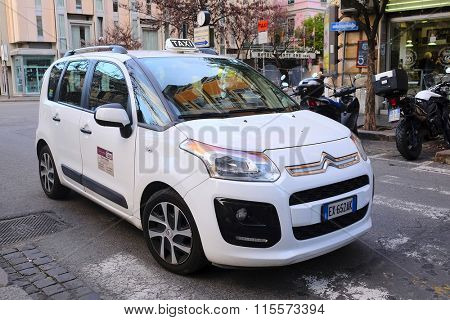 Roma, Italy, January, 17, 2016: Taxi car on a parking in Roma, Italy
