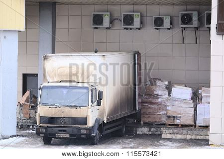 Moscow, Russia, January, 8, 2016: Truck stands on an unloading near warehouse gate