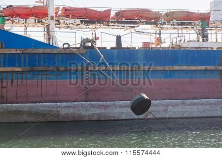 The Mooring Rope With A Cargo Vessel Loaded