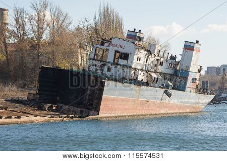 Recycling And Dismantling Of The Ship On The River Bank