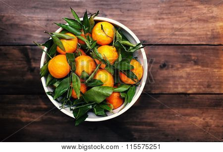 Mandarins Tangerines Closeup. Fresh Tangerine Clementine On The Wooden Table, Top View