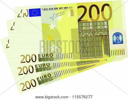 Vector drawing of a 3x 20 Euro bills simplified