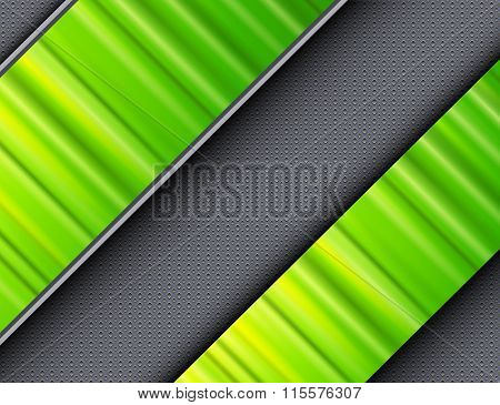 Abstract background green banners over interesting vector texture.