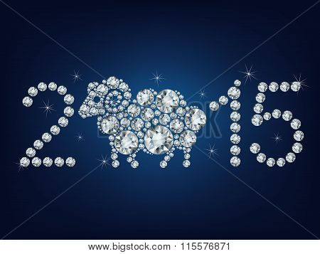 Happy new year 2015 creative greeting card with sheep made up a lot of diamonds