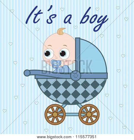 Baby Boy In Baby Carriage