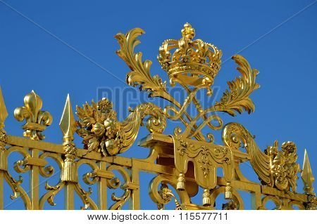Versailles, France - April 19, 2015: Golden Main Gates Of The Versailles Palace. The Palace Versaill