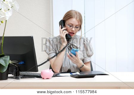 Busy Business Woman On Landline Phone Call, Listening To Conversation