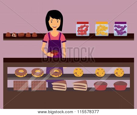 Woman seller holding a cupcake in confectionery. Vector illustration