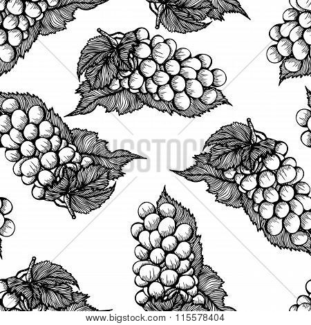 Seamless monochrome pattern with bunch of grapes