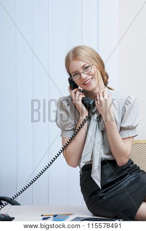 Happy Business Woman On Landline Phone Call, Listening To Conversation