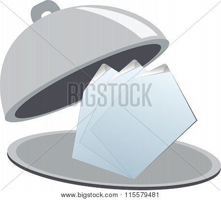 Business signs on restaurant cloche
