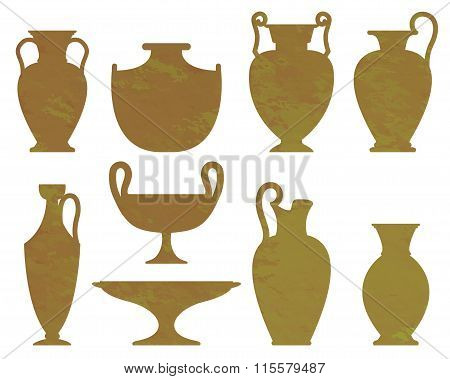 Silhouettes Of Ancient Vases With Texture