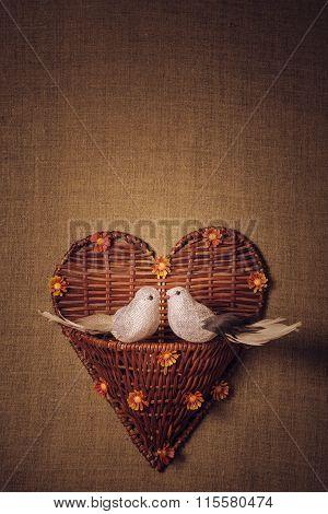 Two little bird the lovers, heart.