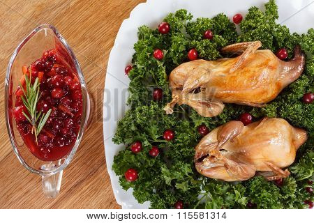 Carcasses Of Quail Roasted With Cranberry And Parsley