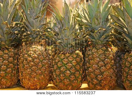 Many Pineapple For Sale In The Local Fruit Market