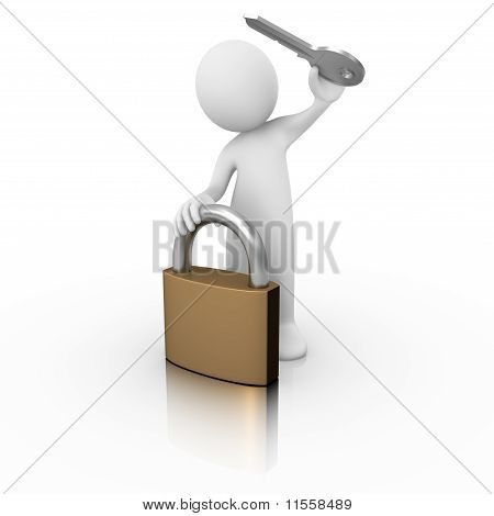 Padlock with a man and a key