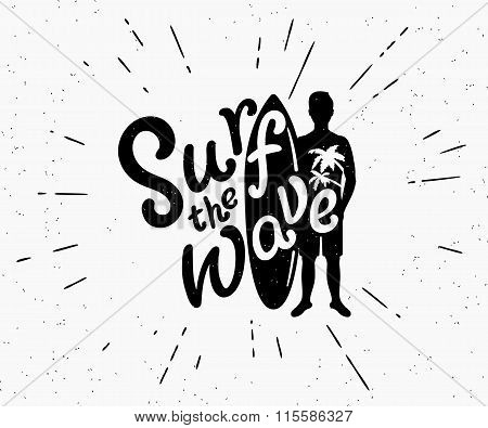 Retro grunge black and white illustration of surfer with surfboard