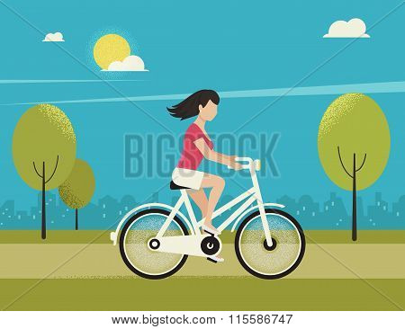 Young woman rides white bicycle