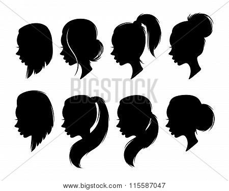 Set of female elegant silhouettes with different hairstyles for design