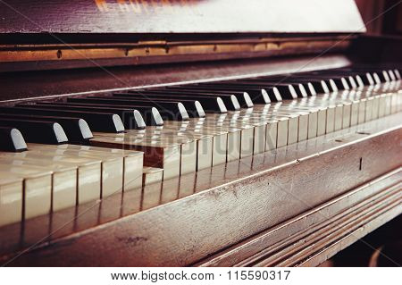 Old Piano Keyboard, One Key Is Pressed, Music Concept In Warm Color Toned Vintage Style