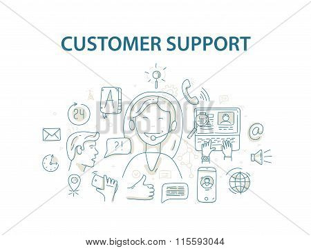 Doodle style vector illustration concept for customer support service