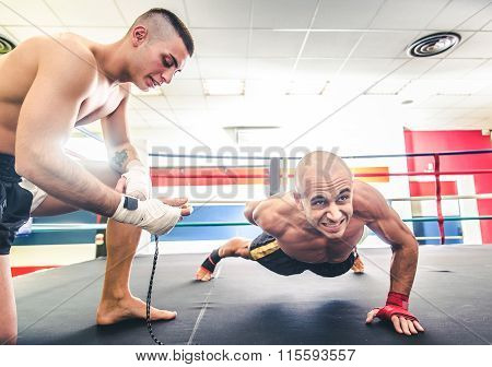 Athlete Doing Push Ups