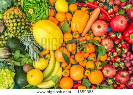 Colored Fruits And Vegetables Background