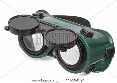 Goggles For Welding Work, Isolated On White, With Clipping Path