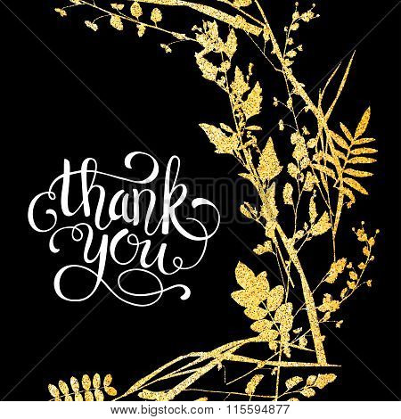 Glitter golden leaves card with thank you hand lettering. Vector illustration for your design