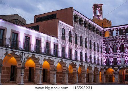 High Square Of Badajoz At Twilight, Spain